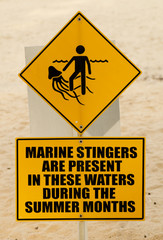 a yellow warning sign marine stingers or jellyfish on the beach