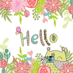 Card with cartoon owl in bright colors. Hello.
