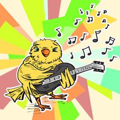 Gele vogel speelt gitaar
