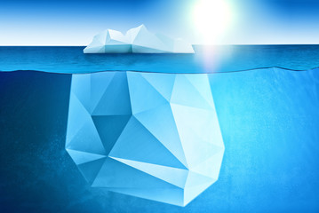 Fototapete - South and North pole and all things related - underwater view of iceberg with beatiful polar sea waters around and sun on background
