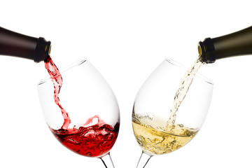 Photo sur Aluminium Alcool red and white wine poured from a bottle into wine glass on white background, isolated