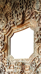 Octagon window frame, made from Wood carving.