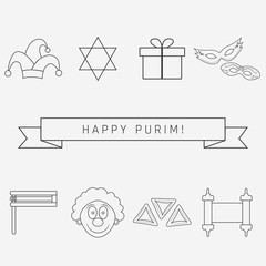 Purim holiday flat design black thin line icons set with text in english