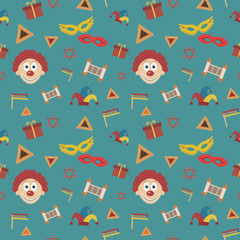 Purim holiday flat design icons seamless pattern