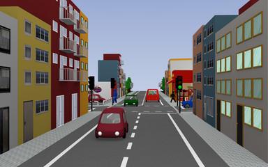 Hauptstraße mit Reihenhäusern, Kreuzung, Geschäften, Autos und Fußgängern. 3d render
