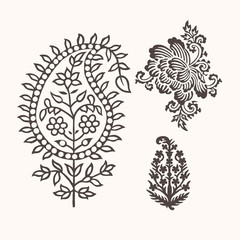 Set of 3 paisley elements. Traditional oriental ethnic ornament of India, monochrome. For your design.