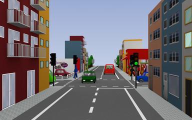 Hauptstraße mit Reihenhäusern, grüner Ampel, Geschäften, Autos und Fußgängern. 3d render