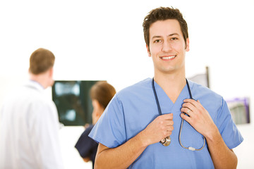 Doctors: Male Nurse Holding Stethoscope
