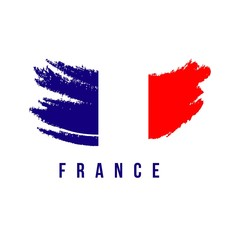 France Flag Brush Logo Vector Template Design