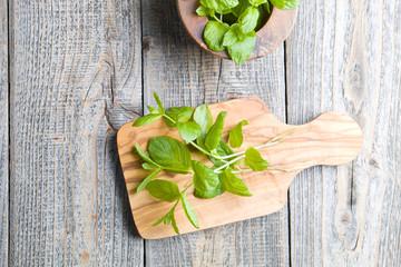 Fresh mint on wood
