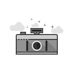 Panorama camera icon in flat outlined grayscale style. Vector illustration.