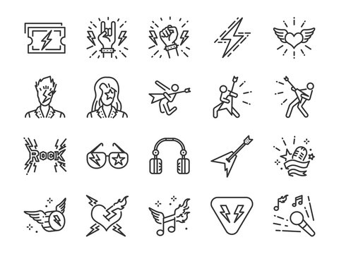 Rock and Roll line icon set. Included the icons as rocker, leather boy, concert, song, musician, heart, guitar and more.