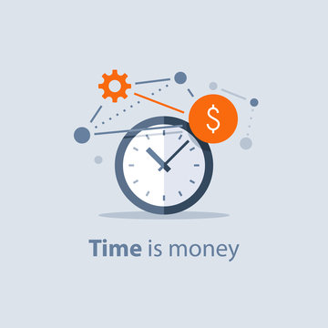 Long term investment, time is money concept, financial future planning, pension savings fund, finance solutions, time management