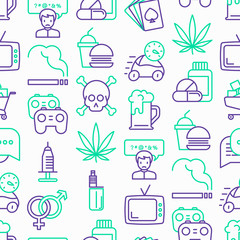 Bad habits seamless pattern with thin line icons: abuse, alcoholism, cigarette, marijuana, drugs, fast food, poker, promiscuity, tv, video games. Modern vector iilustration.