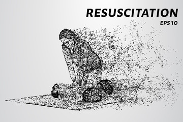 Resuscitation consists of particles. The girl doing CPR on the dummy.