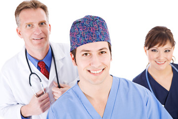 Doctors: Cheerful Medical Team Isolated