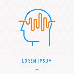 Waves in human head thin line icon. MOdern vector illustration of brain activity.