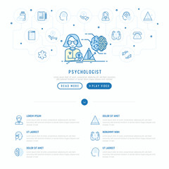 Psychologist at work concept with thin line icons: psychiatrist, disease history, armchair, pendulum, antidepressants, psychological support. Vector illustration, web page template.