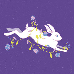 Easter rabbit with flowers on the background.Vector illustration.