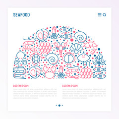 Seafood concept in half circle with thin line icons: lobster, fish, shrimp, octopus, oyster, eel, seaweed, crab, ramp, turtle. Modern vector illustration for restaurant menu.