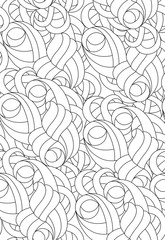 Black and white pattern for coloring.Hand- drawing abstract doodles. Art therapy coloring page. Vector illustration.