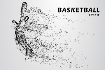 Basketball of the particles. Basketball player jumping with ball