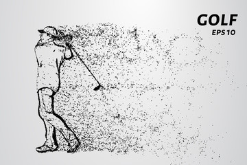 Golf of particles. Man playing Golf on Golf course