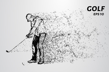Golf of particles. The golfer strikes the ball