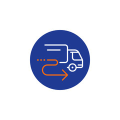 Delivery truck icon, order shipping, distribution services, relocation concept