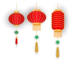 Set of chinese lanterns on white background