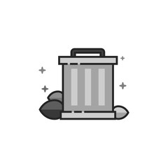 Trash bin icon in flat outlined grayscale style. Vector illustration.