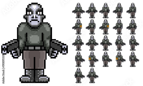 bad guy gunner gill retro pixel art sprite sheet stock photo and