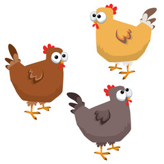 Big Eyed Funny Chicken Set Vector Illustration Cartoon Isolated on White