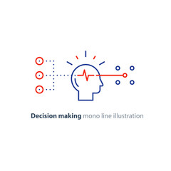 Target group, decision making, bias concept, choose options, creative thinking