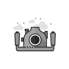Underwater camera icon in flat outlined grayscale style. Vector illustration.