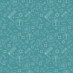 Purim holiday flat design white thin line icons seamless pattern