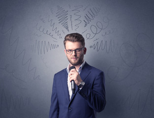 Businessman holding microphone