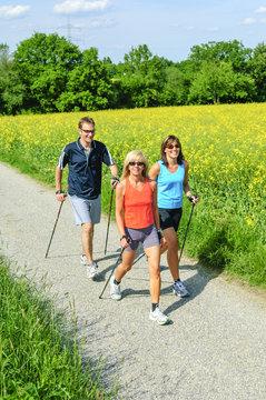 gesundheitsbewusstes Training beim Nordic Walking