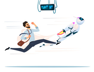 Human VS Robot. Competition who faster and stronger.Modern Robot Set With expressions Artificial Intelligence Technology Flat Vector Illustration