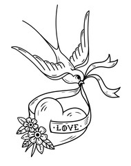 Swallow carries over heart on ribbon with lettering Love. Black and white tattoo. Old school style.