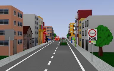 Hauptstraße mit dem Straßenschild Umweltzone frei (text in deutsch) Häusern, Autos und Fußgängern. 3d render