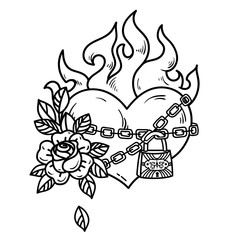 Tattoo burning heart with roses. Tattoo heart in fetters of love on white background. Black and white illustration