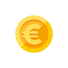 Euro sign on gold coin flat style