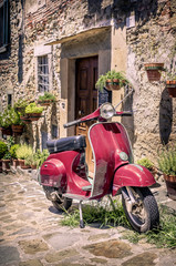 Red scooter in Tuscany
