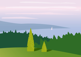 Printed kitchen splashbacks Castle Landscape minimalistic, mountains, sea, trees, flat, isolated, vector, illustration