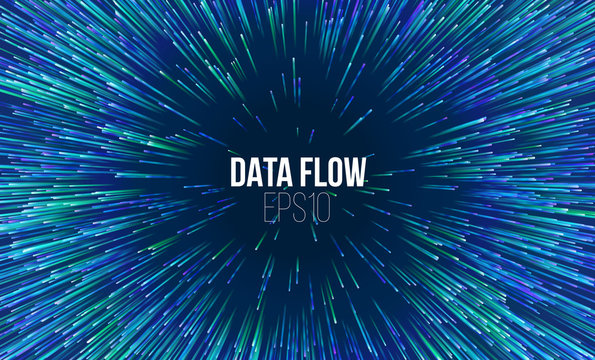 Abstract data flow tunnel. Circular geometric centric motion pattern. Music explosion radial background
