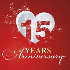 15 years anniversary firework heart red greeting card icon logo