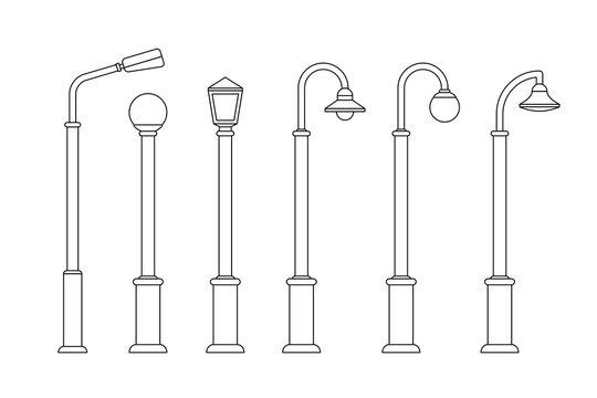 Street lighting line icons