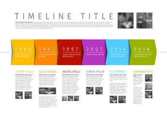 Vector colorful Infographic timeline report template with additional texts and photos