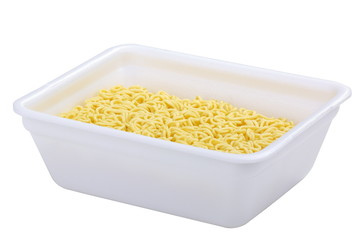 Instant noodles in a white plastic box